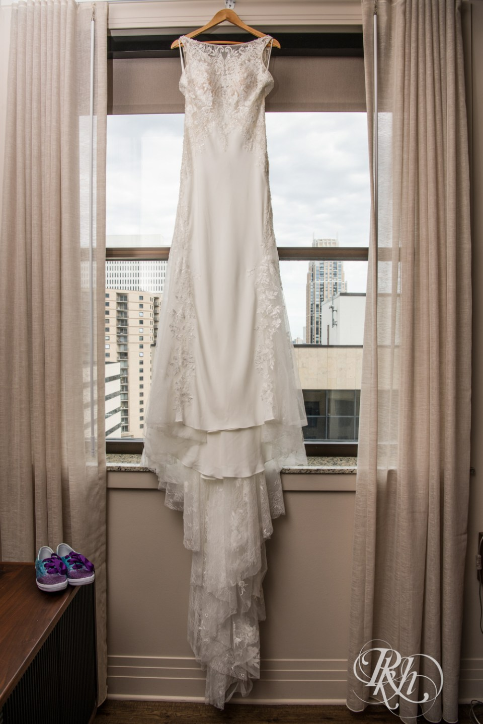 Wedding dress with glittery shoes