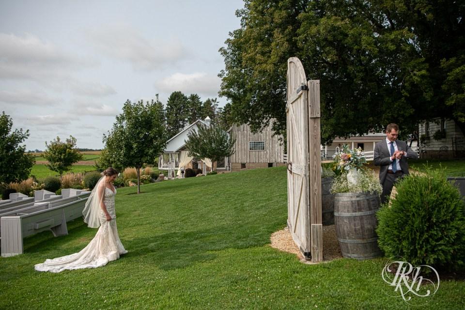 first look legacy hill farm barn wedding
