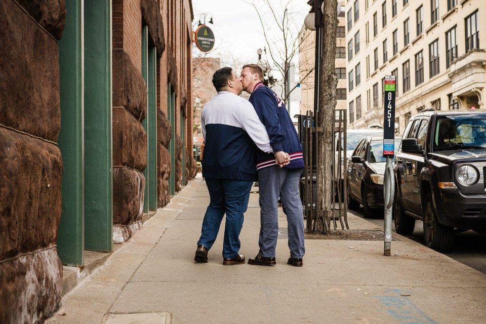 two men kissing engagement photos