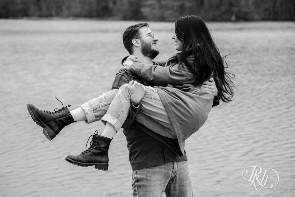 cloudy day engagement lake