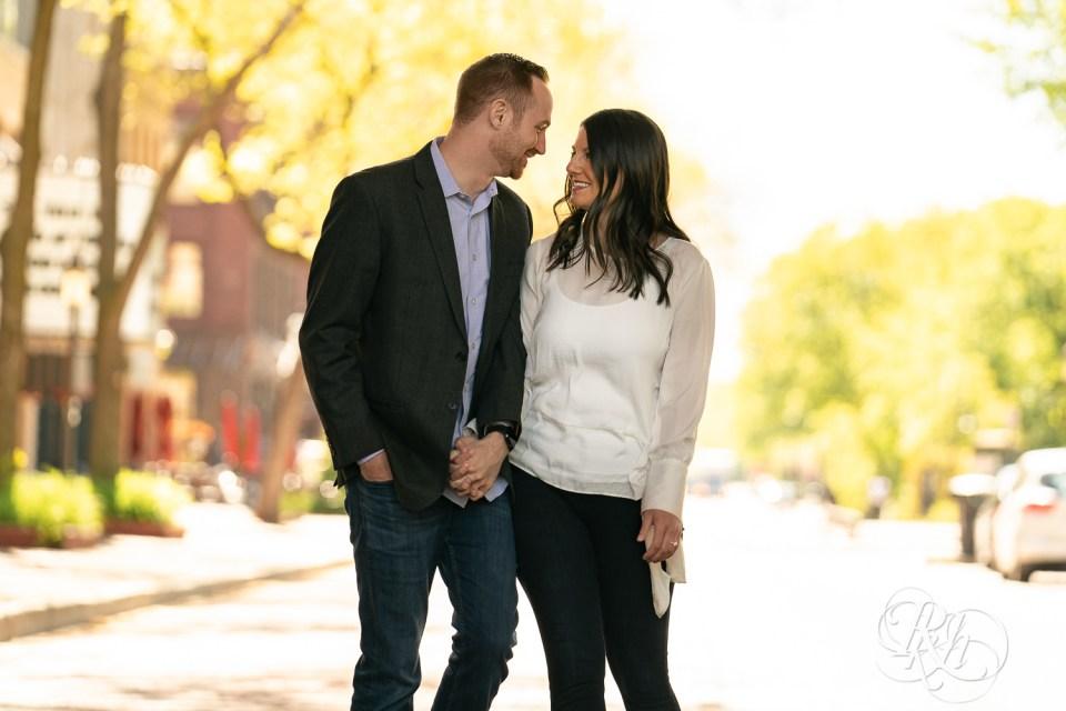 saint anthony main engagement photos couple walking