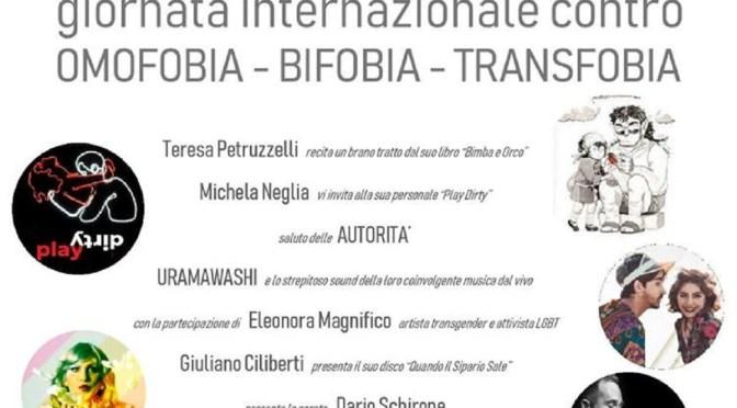 Venerdi 17 alla Ciclatera sotto il Mare: Giornata internazionale contro l'Omofobia, Bifobia, Transfobia.