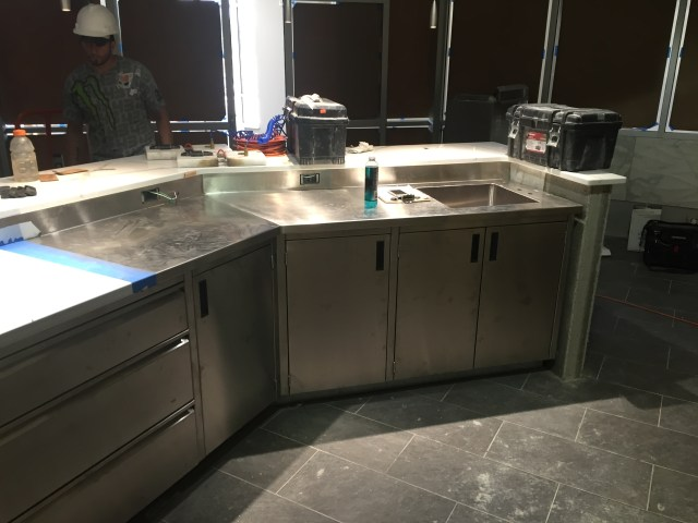 SS Countertop with Backsplash, Cabinets, Drawers & Welded in Sink