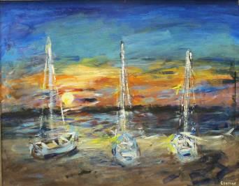 3 Boats at Sunset, Leland, Michigan