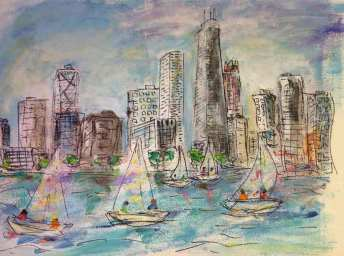 Chicago View With Sailboats