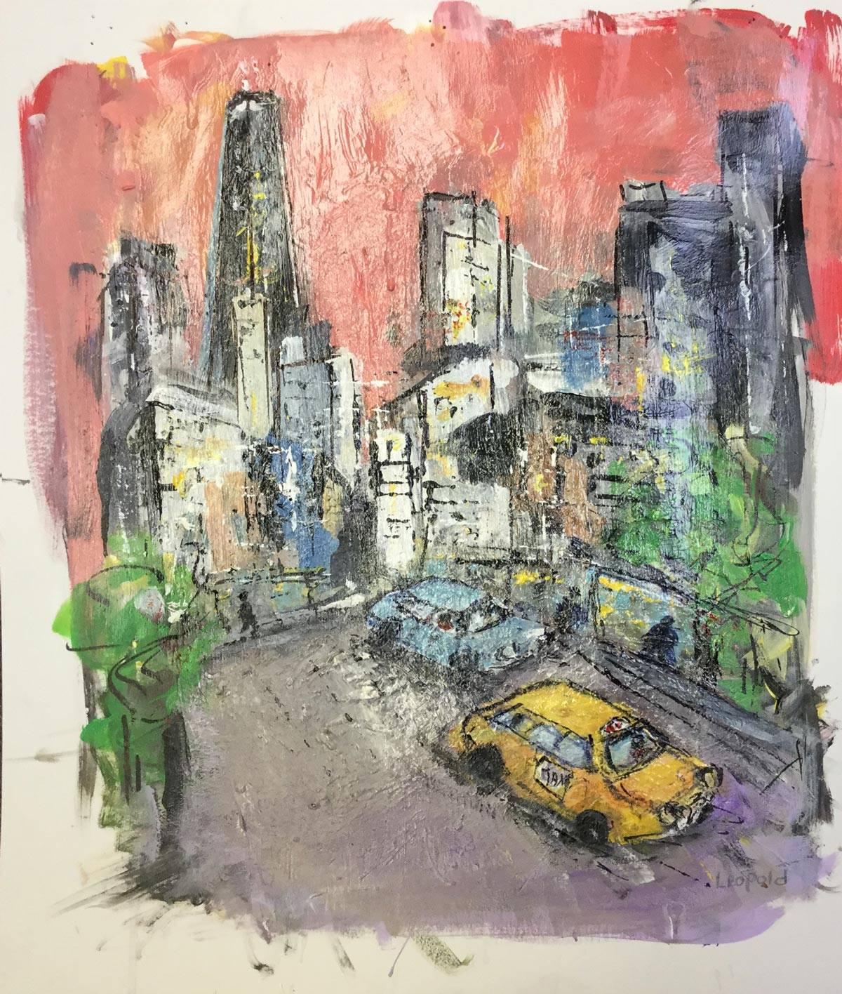 City-Scene---Red-Sky 16 X 20