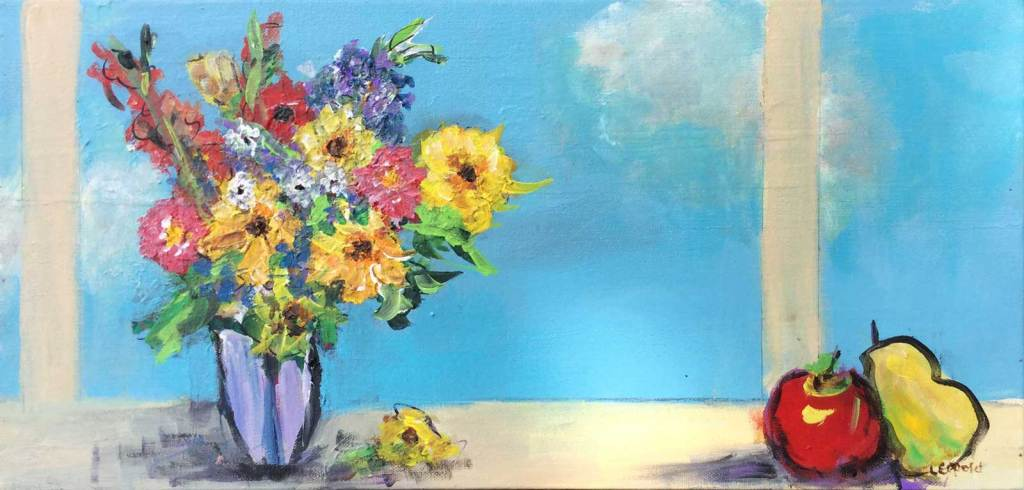 "Still Life: Flowers in Window 10"" X 20"""