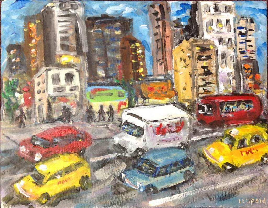 "Original painting - ""New York Minute"" - by Bob Leopold"