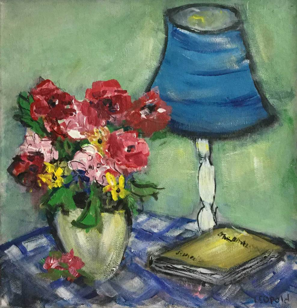 Still LIfe - Book, Lamp, Flowers