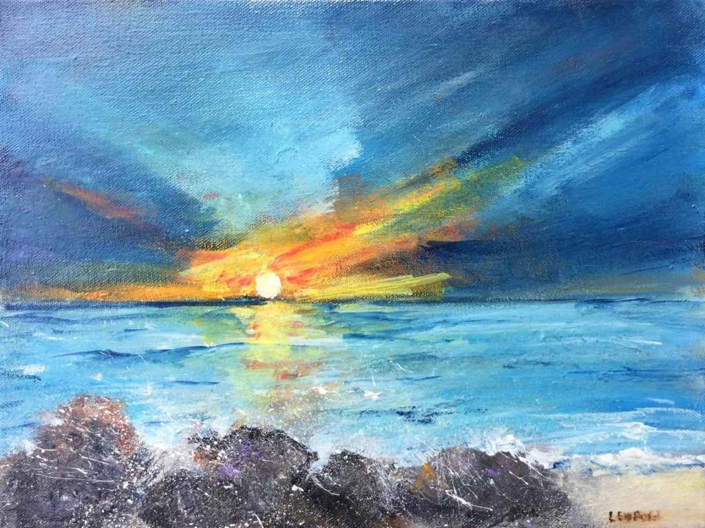 "Sunset over-the Pacific, Oregon -11"" X 14"""