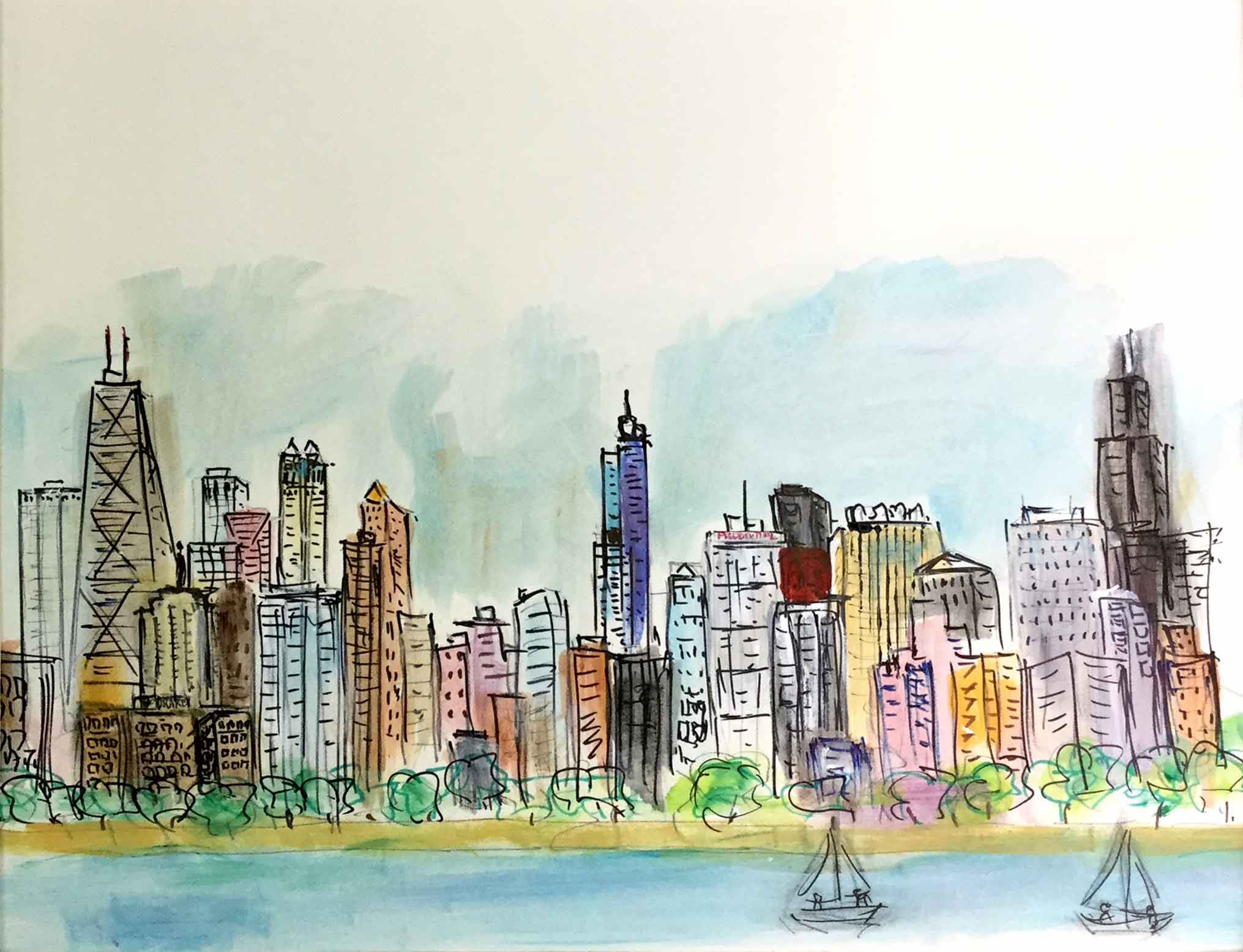 Whimsical Chicago Skyline