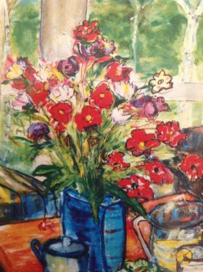 Flowers with Blue Vase