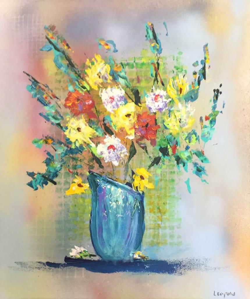 Flowers in Blue Vase