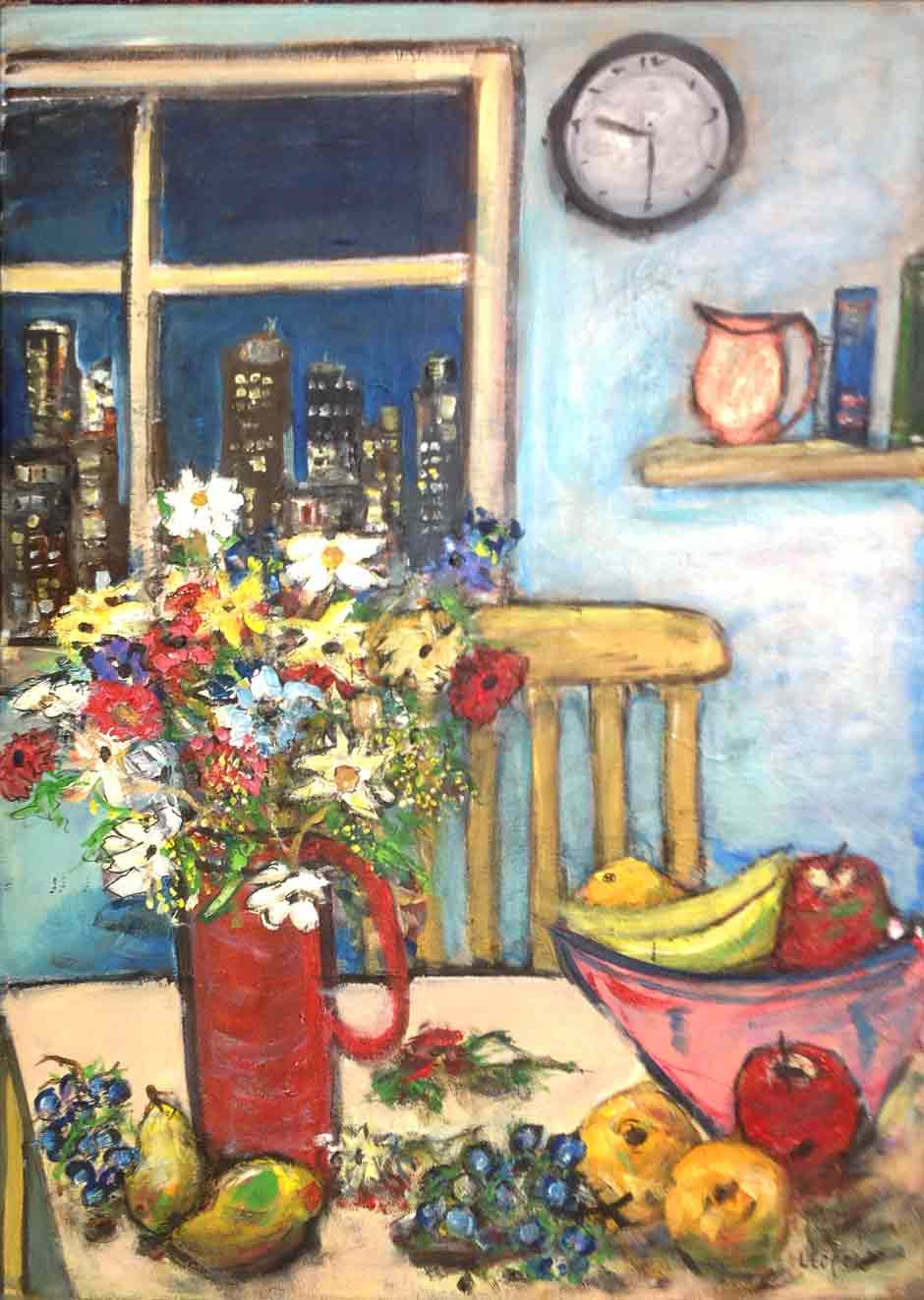 Still Life with City and Clock