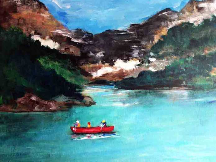 Red Boat in Canadian Rockies
