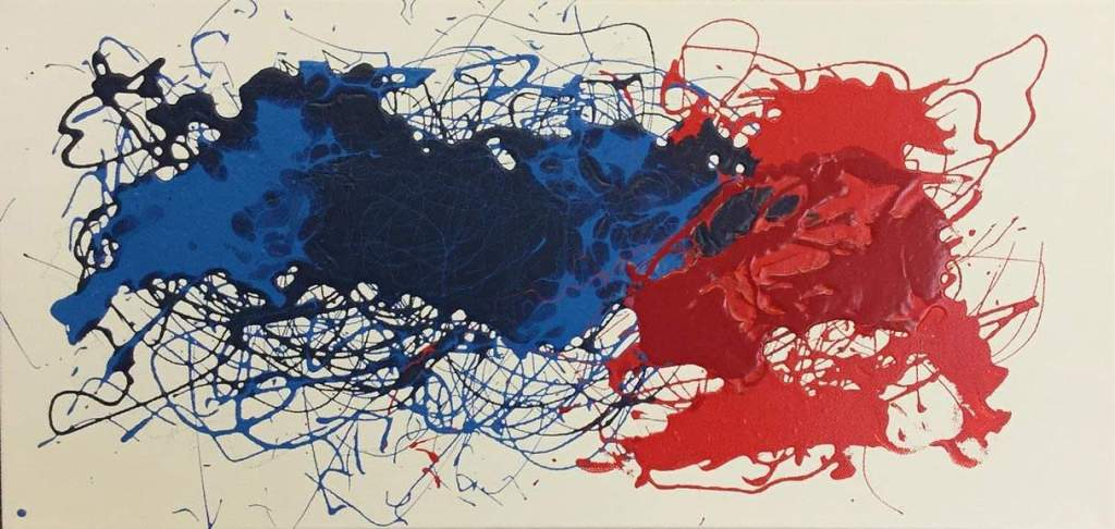 Red & Blue Abstract 10 X 24