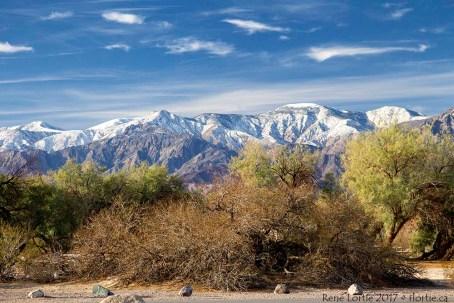 Vue des montagnes enneigées de la Sierra Nevada à partir du camping de Furnace Creek