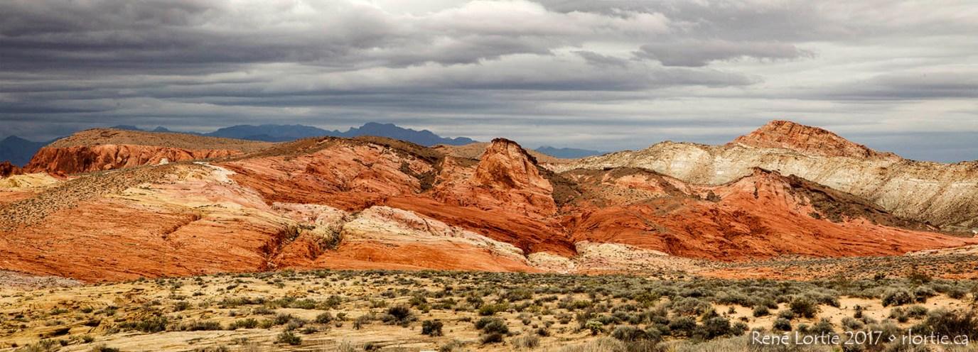 Vue panoramique des couleurs chaudes de Valley of Fire