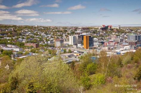 Vue de la ville - On aperçoit The Rooms dans le coin supérieur droit