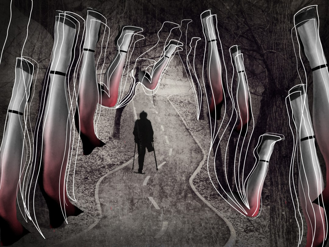 Lonely walk, rite of passage concept