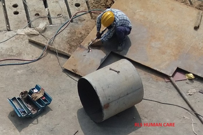 Gas cutting safety at construction site