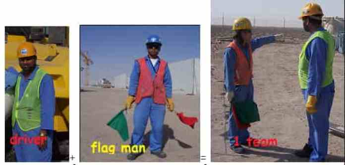 Driver and flagman must work together