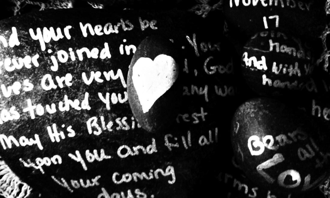 How Do I Love Thee stones from Gloria Horner wedding gift Nov 2012