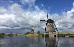 windmills and clouds