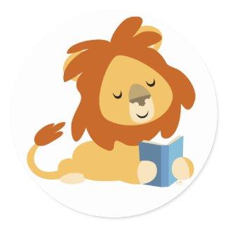 Reading Cartoon Lion round sticker sticker