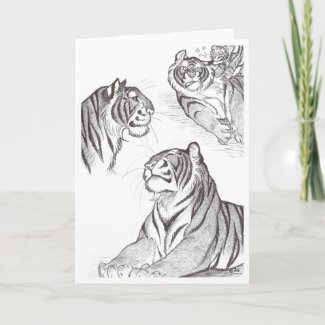 Tigers in black greeting card card