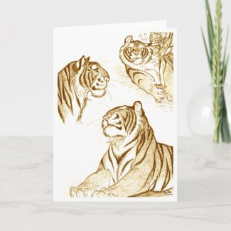 Tigers  in sepia greeting card card
