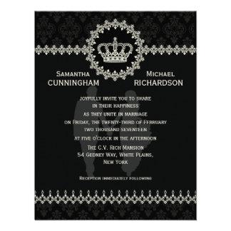 """4,25"""" x 5,5"""" moderne Spitzee krönen Hochzeits-Pass Individuelle Ankündigskarten"""