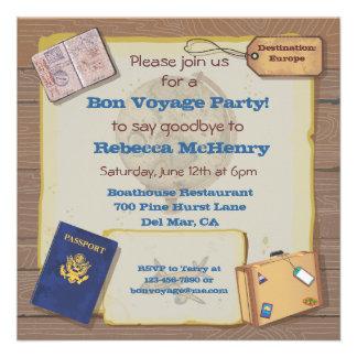 Rustikale Vintage Reise-Party Einladung