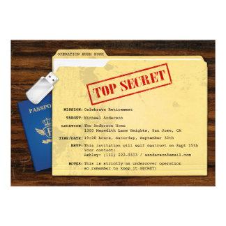 Spitze - geheimes Agent-Auftrag-Überraschungs-Ruhe Individuelle Ankündigungskarte