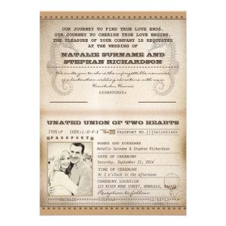 Vintage Hochzeit in Urlaubsortspässe lädt ein Individuelle Einladungskarten
