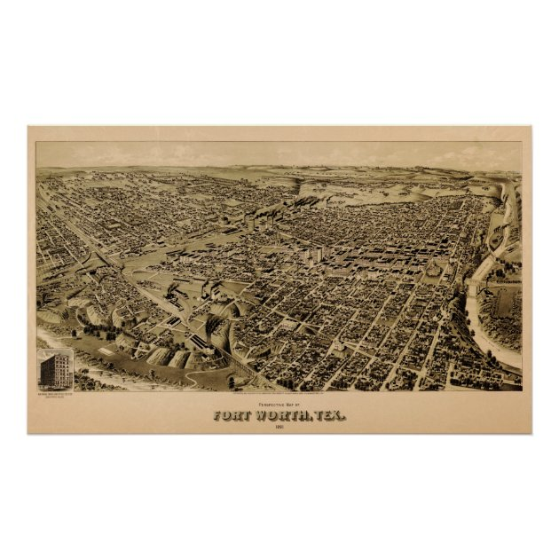 1891 Map Of Fort Worth, Texas Birds Eye View Poster