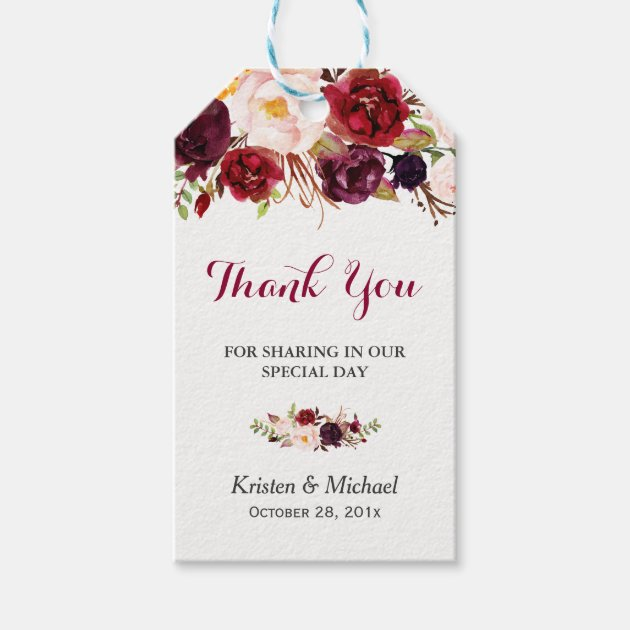 Burgundy Marsala Floral Wedding Favour Thank You Gift Tags