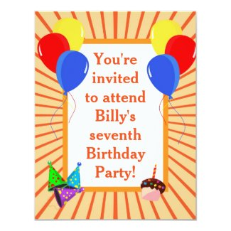 Colourful Party Balloons Kid's Birthday Invitation