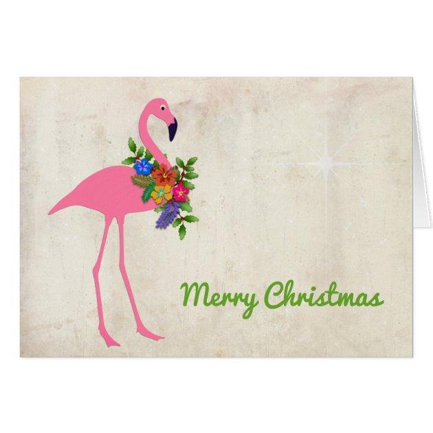 Flamingo Christmas Message Signature Greeting Card Zazzle