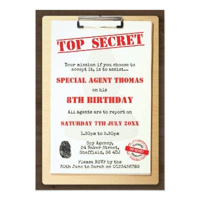 10 x personnalise spy agent secret fete