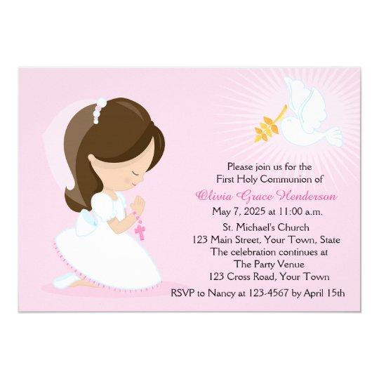 carte invitation premiere communion fille