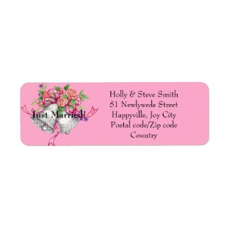 Just Married Wedding Bells Address Labels