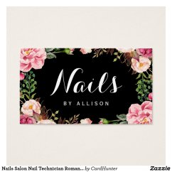 Nails Salon Nail Technician Romantic Floral Wrap Business Card