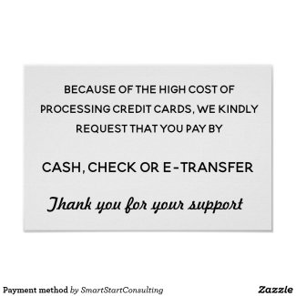 Payment method poster-Cutting costs for home-based salons and spas
