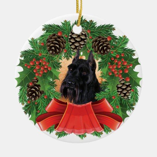 Standard Schnauzer Christmas Holiday Wreath Ceramic