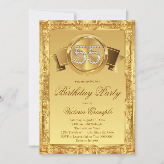 gold diamond swirl womans 55th birthday invitation