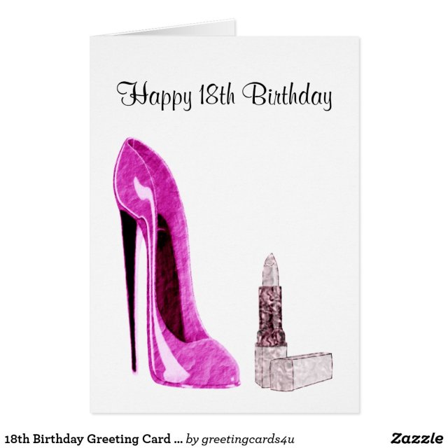 18th Birthday Greeting Card with Pink Stiletto