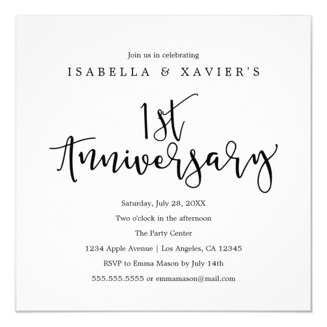 1st Anniversary Invitation
