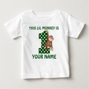 1st Birthday Boy Monkey Personalised Shirt