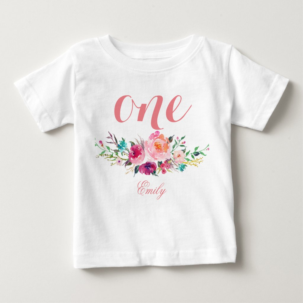 1st Birthday Watercolor Floral Personalised T-Shirt